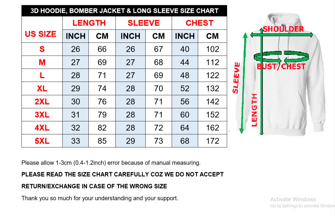 Hoodie, Long Sleeve & Bomber Sizing Chart