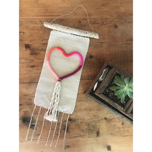 Fiber Heart Handwoven Wall Hanging