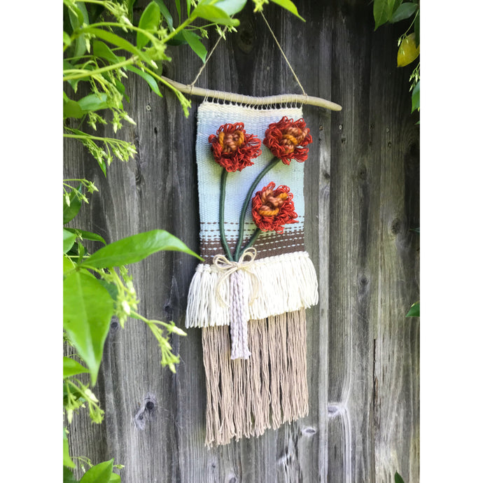 SOLD. California poppy handwoven wall hanging🧡