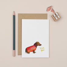 Load image into Gallery viewer, Daschund-i-love-you-greetings-card