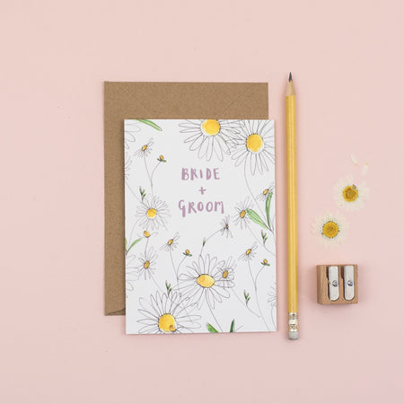 daisy-bride-and-groom-wedding-card