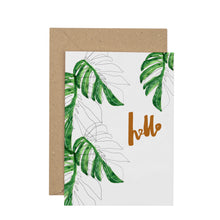 Load image into Gallery viewer, monstera-hello-greetings-card