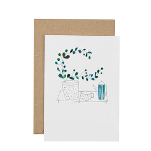 Plants & Tea greetings card