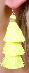 Tassel Me Neon Yellow Earrings