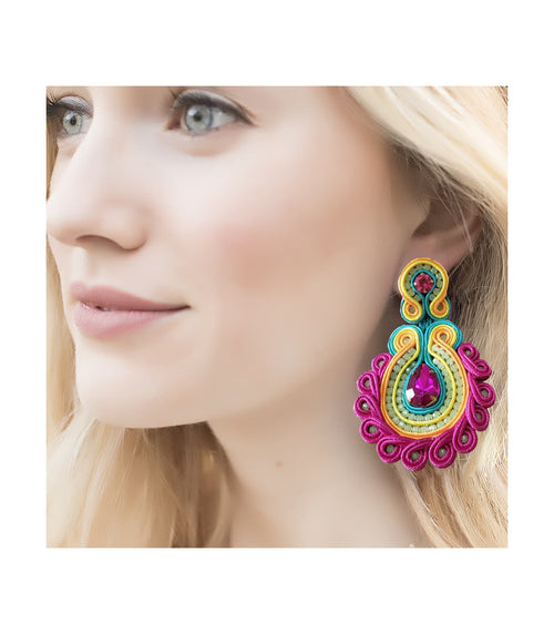 Pool Party Fuschia Drop Earrings
