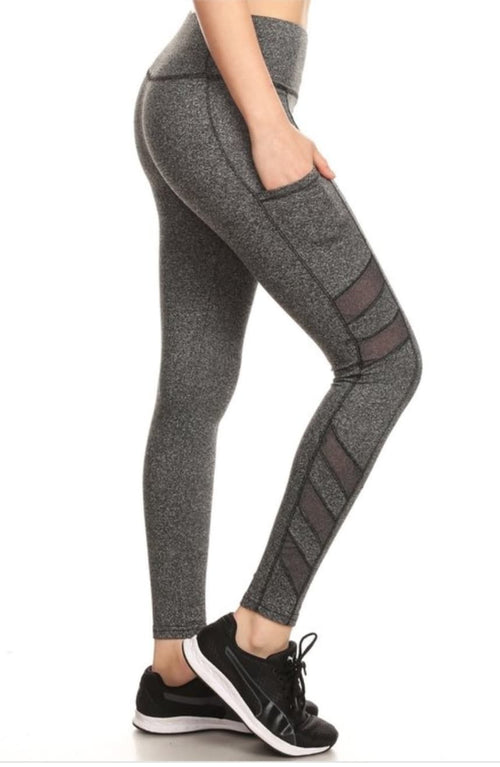 Charcoal Cutout Yoga Pocket Leggings