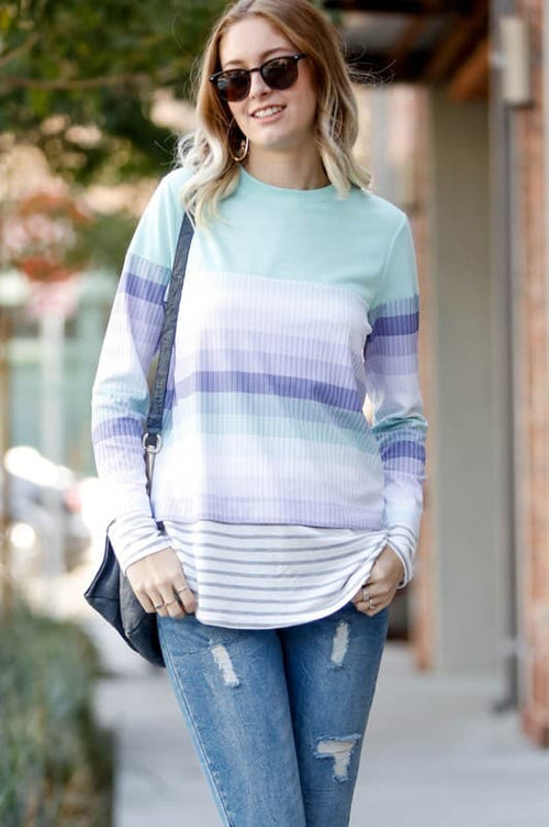 Mint and Lavender stripe is so Spring!