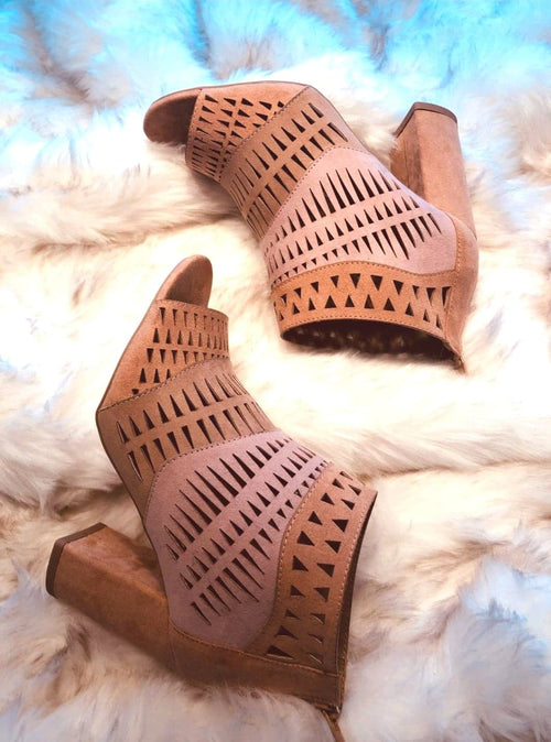 Tri-Color Suede Open Toe Booties!!