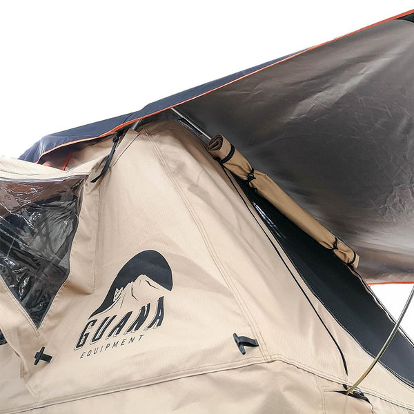 "Silver Coating under the Rainfly of the Wanaka 72"" Roof Top Tent With XL Annex - 4 Person Size"