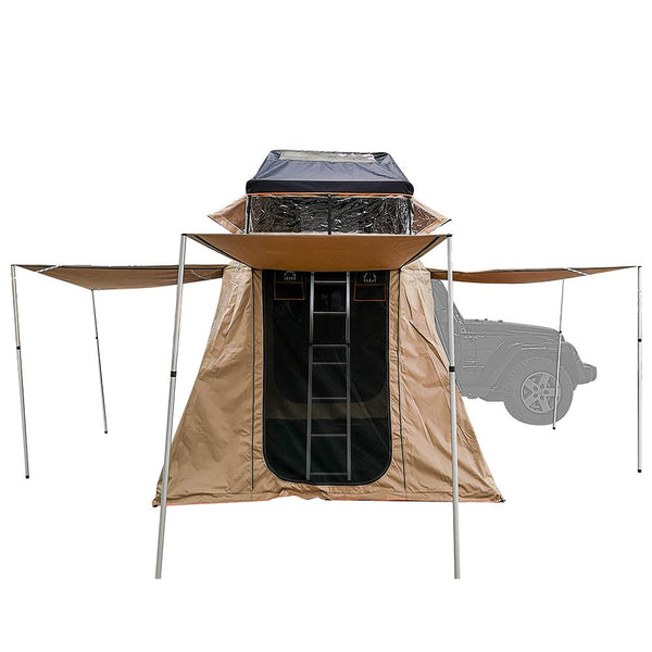 "three awning doors of the annex of the Wanaka 72"" Roof Top Tent With XL Annex - 4 Person Size"