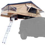 New Wanaka 55 Rooftop Tent With Black Diamond Plate Aluminum Base Front Side View