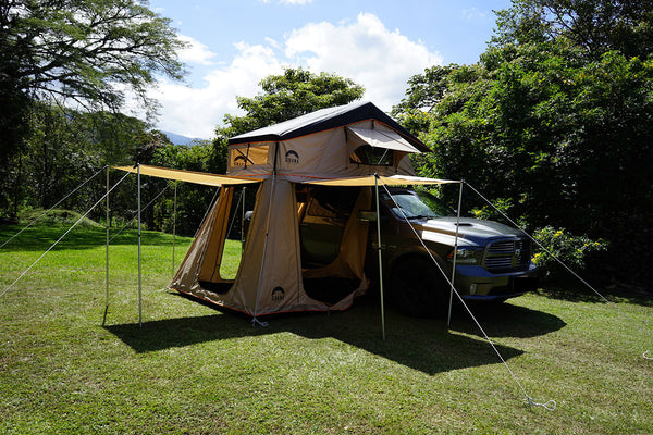 Wanaka 3 Person Roof Top Tent Setup With Annex with 3 awnings