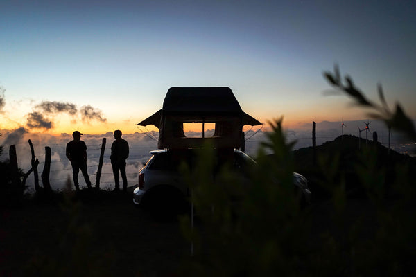 night view of Wanaka 3 Person Roof Top Tent Setup With Annex