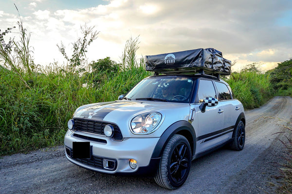 "Wanaka 72"" Roof Top Tent Closed On Top of Mini Cooper"