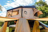 "Wanaka 72"" Roof Top Tent With XL Annex 4 Person Size Front Side View"