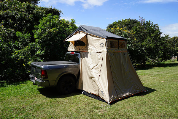 Wanaka 3 Person Roof Top Tent Setup With Annex closed