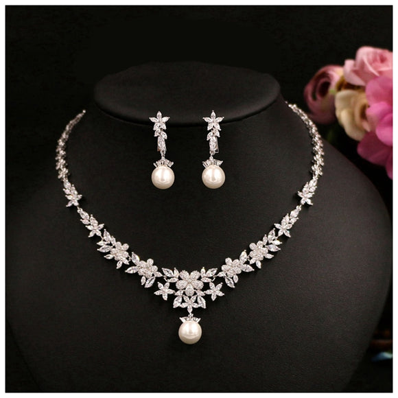 Lillian Simulated Pearl and Cubic Zircon Jewelry Set