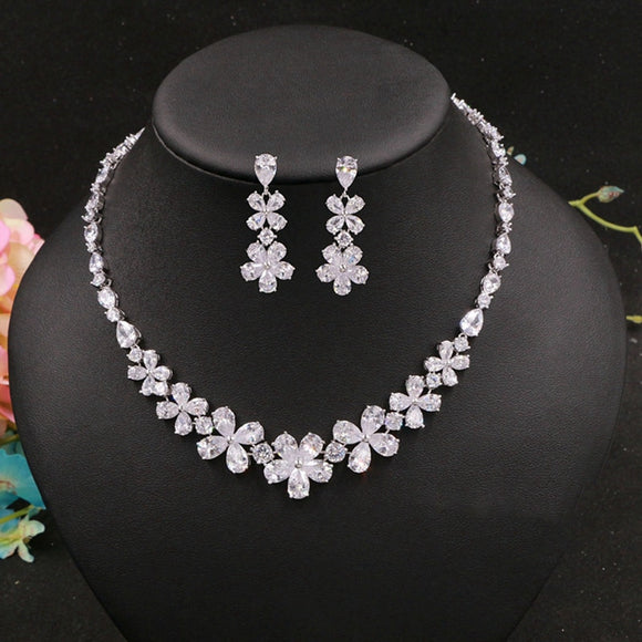 Samantha Cubic Zirconia  Flower Pattern Jewelry Set