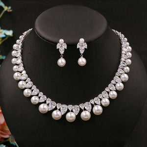 Sarah Cubic Zirconia and Simulated Round Pearl Delicate Jewelry Set