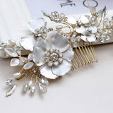 Vanessa Gold Hair Combs with Crystals and Handmade Flowers