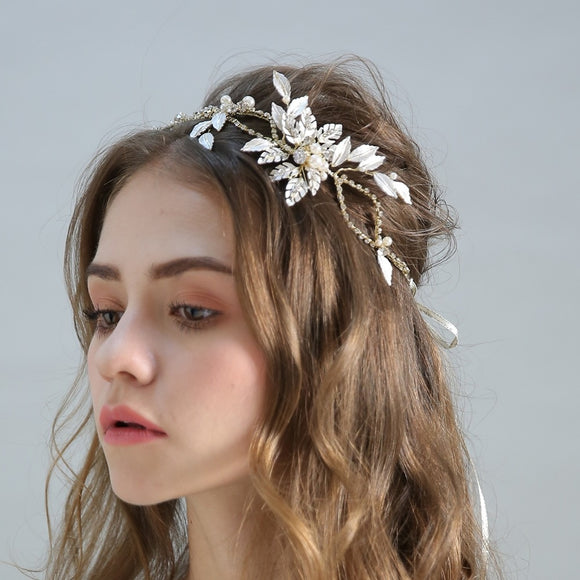Hailey Gold Hair Band with Pearls and Crystals