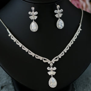 Addison Cubic Zirconia Crystal Drop Bow Jewelry Set