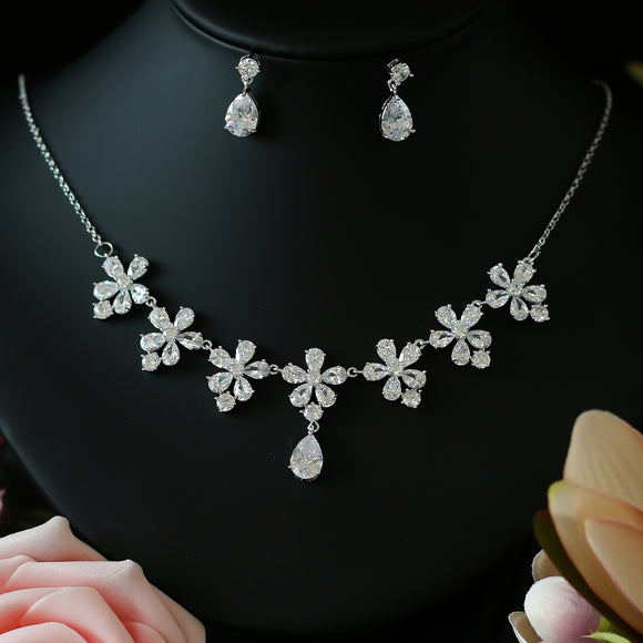 Caroline Cubic Zirconia Choker Necklace Jewelry Set