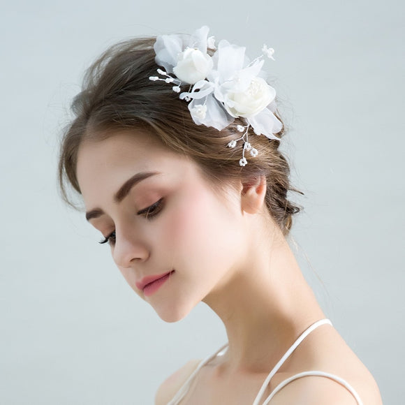 Helena Handmade  Flower Hair Accessory with Beads and Pearls