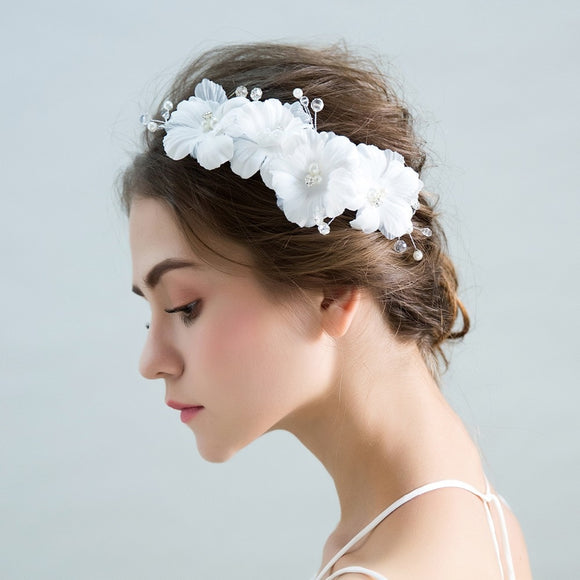 Fiona Elegant White Flower Headpiece