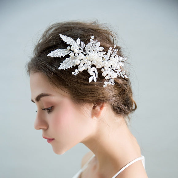 Ella Chic Women Pearl Hair Combs with Handmade Flowes