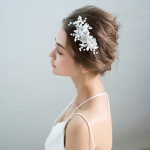 Dalia Chic Wedding Hair Combs with Handmade Flower Pearls and Crystals