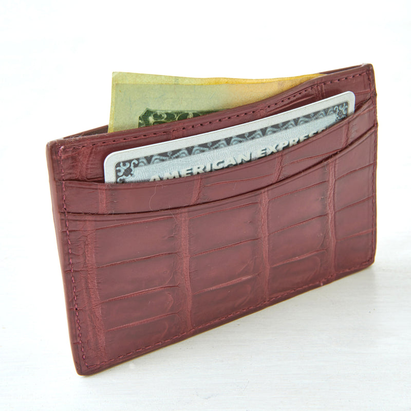 Credit Card Case - Burgundy Crocodile