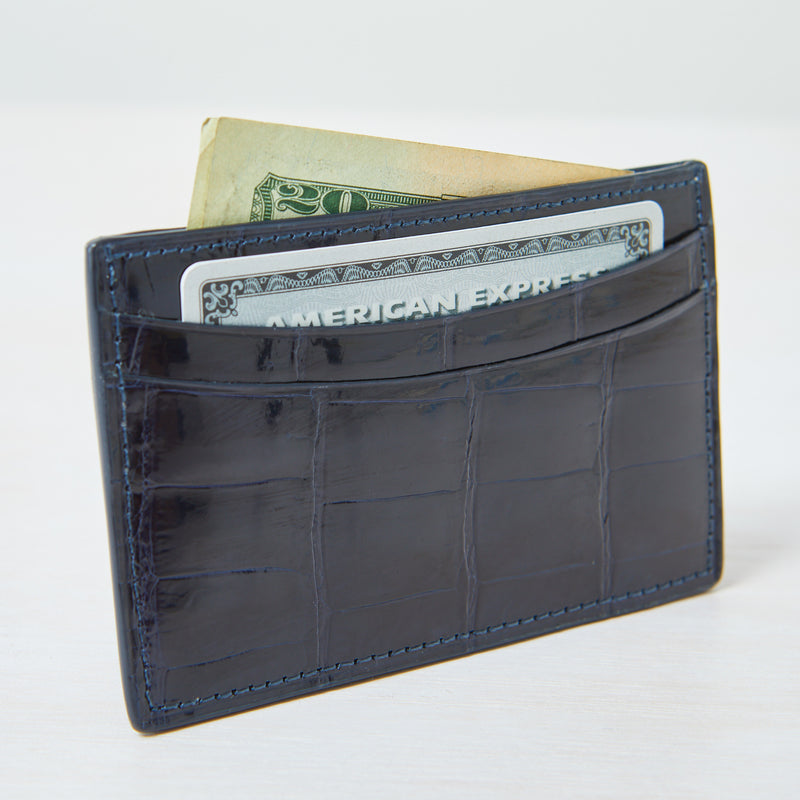 Credit Card Case - Navy Crocodile