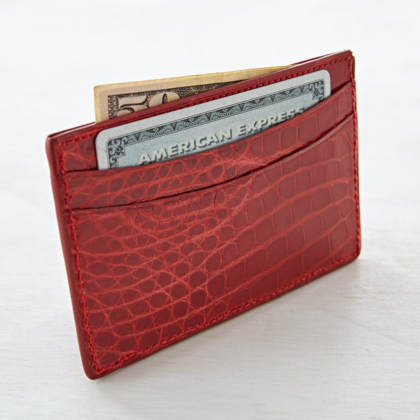 Credit Card Case - Red Crocodile