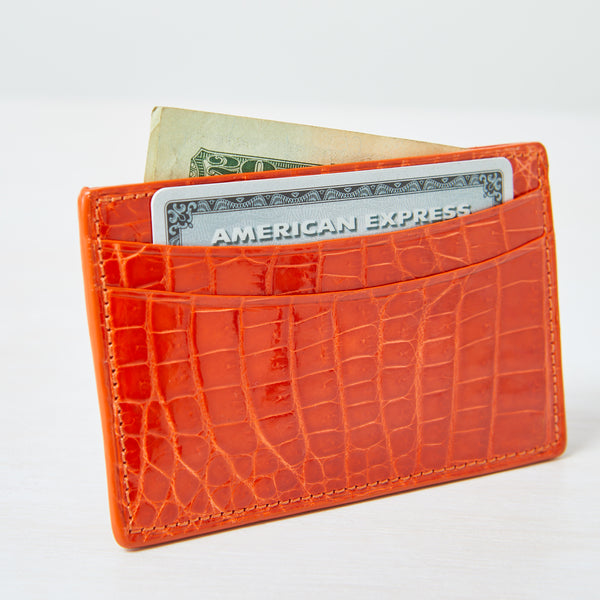 Credit Card Case - Tangerine Crocodile