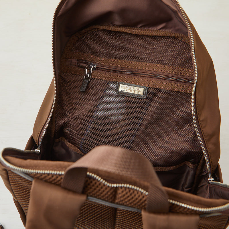Perry Slim Backpack - Brown Nylon