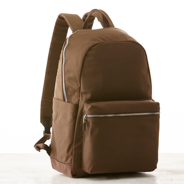 Perry Slim Nylon Backpack - Brown