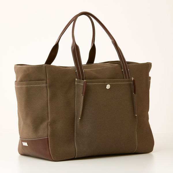 Bradley Zip Tote - Brown Canvas