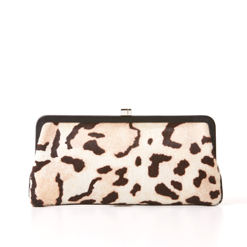 182 Framed Clutch - White Leopard Print