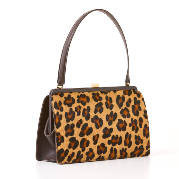 Abbey Framed Shoulder Bag - Leopard Print