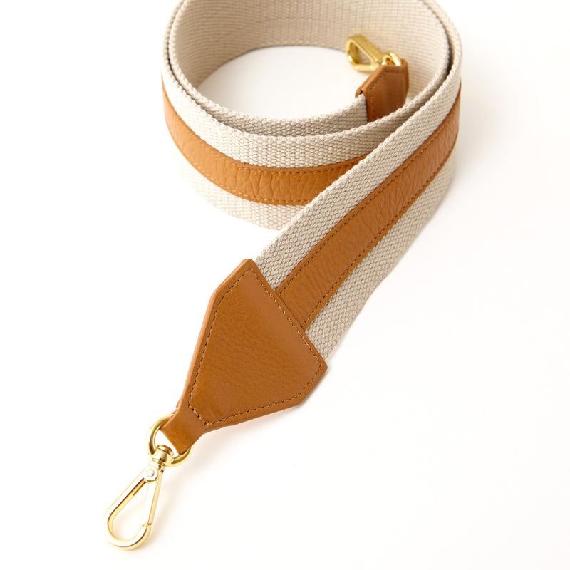 Cotton Webbing Shoulder Strap - Camel