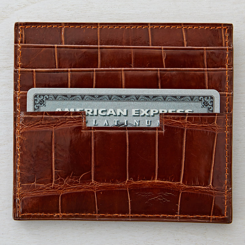 LT Card Case - Cognac Crocodile