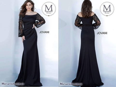 Blackevening dress with long sleeves designed by Jovani, ideal for formal dinners, events, and wedding guest attire