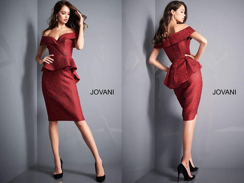 Burgundy off-shoulder knee-length evening dress with peplum waist, invisible back zipper, hook, and eye closure