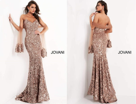 Copper Jovani evening dress embellished with sequins, perfect for a wedding guest attire