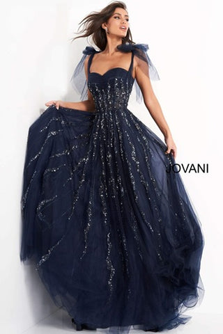 Navy maxi evening gown with a sweetheart neckline, designed by Jovani.