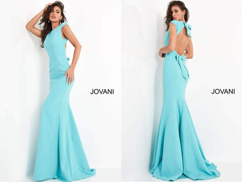 Turquoiseevening dress with crepe neck, cap sleeves, open back, and sweep train, designed by Jovani