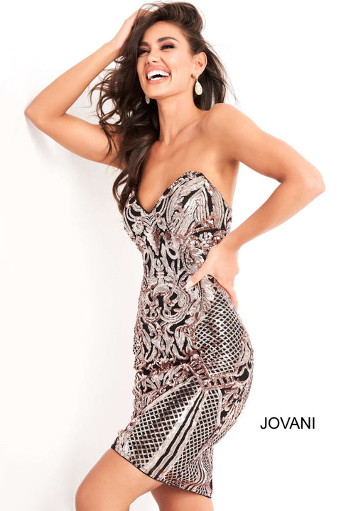Black Rose Strapless Sequin Homecoming Dress Jovani 00768 - Morvarieds Boutique