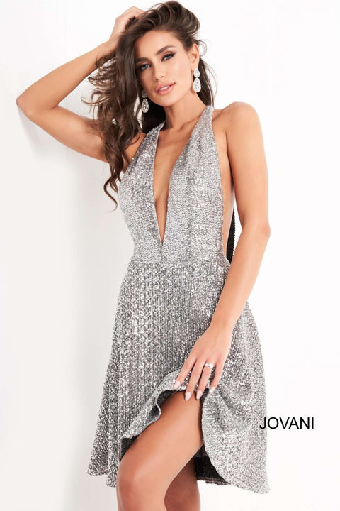 Silver Sequin Plunging Neckline Homecoming Dress Jovani 03751 - Morvarieds Boutique