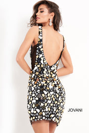 Black Multi Sleeveless Cut Glass Short Dress Jovani 03858 - Morvarieds Boutique